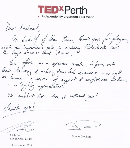 TEDxPerth 2012 - Testimonial- Rachael West